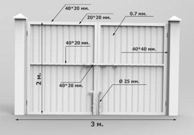 Технические характеристики ворот из профнастила
