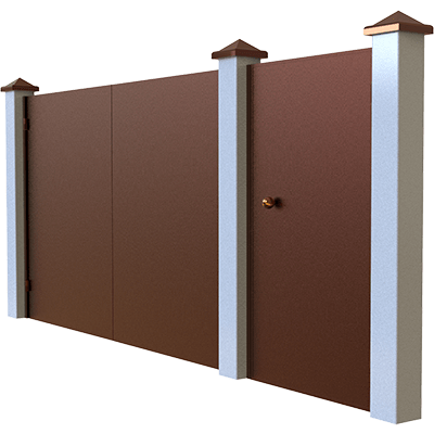 Распашные ворота с калиткой отдельно