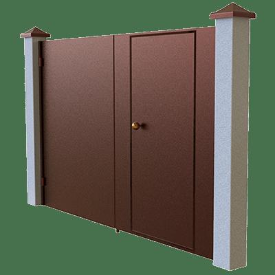 Распашные ворота с калиткой внутри