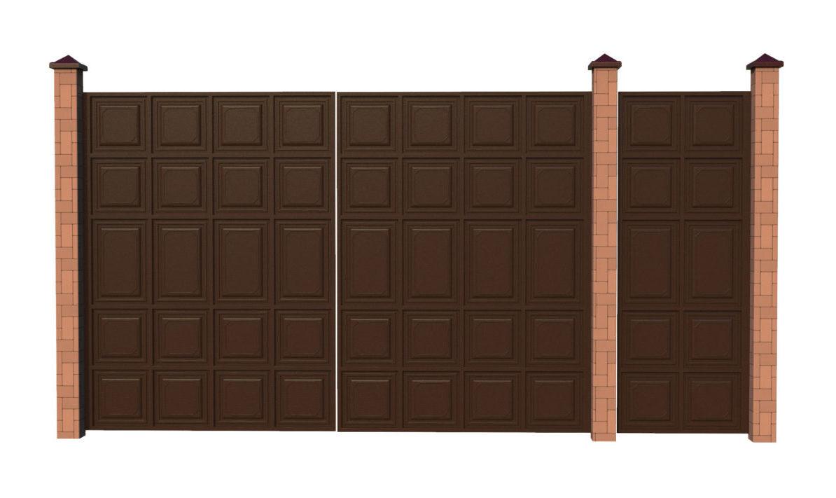 ворота шоколадка с калиткой отдельно