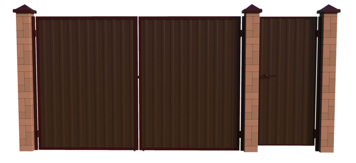 Ворота с калиткой отдельно