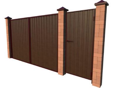 Ворота из профильного листа с калиткой отдельно