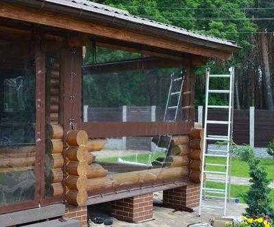 Прозрачные шторы ПВХ со спайкой посередине
