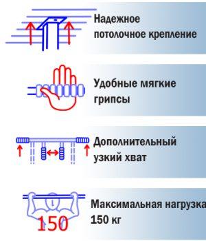 Технические характеристики потолочного турника