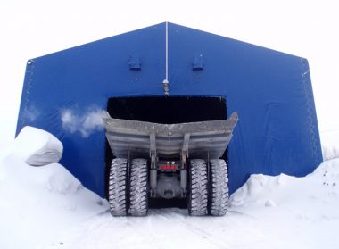 Тентовый гараж для грузовых автомобилей