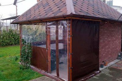 Комбинированные прозрачные шторы для беседки