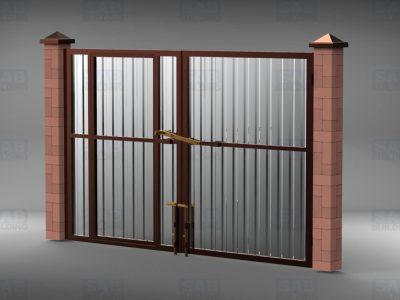Установка ворот с калиткой из профнастила